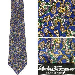 VINTAGE Ferragamo Silk Floral Paisley Print Tie